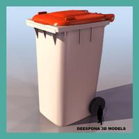 european urban garbage container 3d model