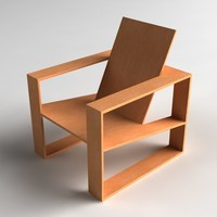 modern wooden lounge chair 3d model