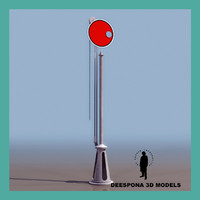 red stop train signal 3d max