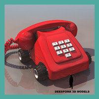 3d toy wheeled red telephone model