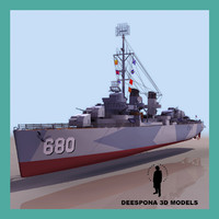 uss fletcher navy ship 3d max