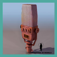 vintage radio microphone bbc 3d model