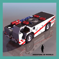 navy carrier tractor firefighter 3d model