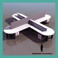 3d office multi desk cross model