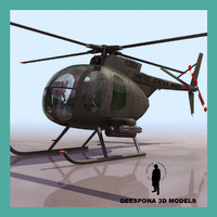 3d max oh-6a army attack helicopter