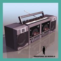 3d model radiocassette boombox 1990