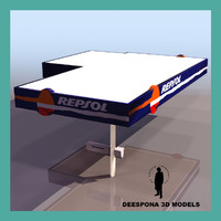 3d model repsol petrol service station