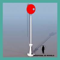 3d model railway train signal disc