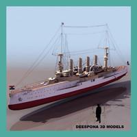 sms scharnhorst 1907 imperial 3d model