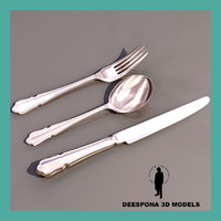 3d model silverware knife spoon fork