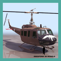 3ds max vietnam war helicopter uh1h
