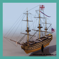 hms victory british battle 3d model