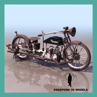 3d militaire vintage motorcycle model