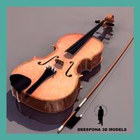 3d model viola musical instrument