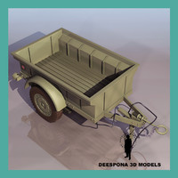 3d jeep willys trailer standard model