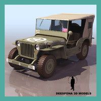 3d model jeep willys wwii army