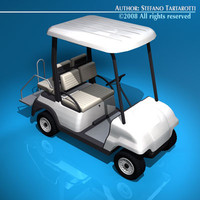 3d model 4 seats golf cart