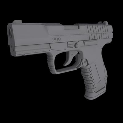 gun pistol 3d max