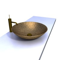 3d hammered copper basin sink model
