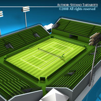 3dsmax tennis court grass field