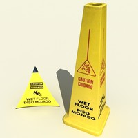 3d model wet floor cones