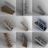 3d stairs set model