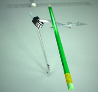 3d model of compasses pencil line