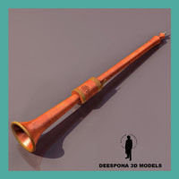 3d alto medieval flute model