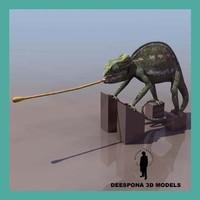 3d chamaleon reptile model
