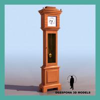 grandfather english clock 3d model