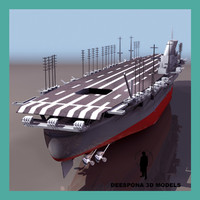 3d shinano wwii japanesse aircraft carrier