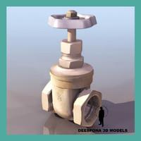 3d pipe stop cock valve model