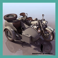 3d model r75 sidecar german motorcycle