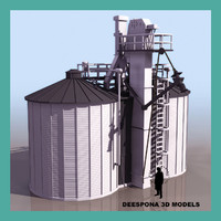 3d model twin silo farmer grain