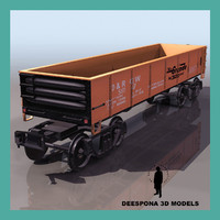 open wagon cargo train 3d max