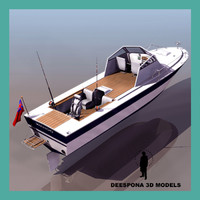 wahoo fishing boat 3d model