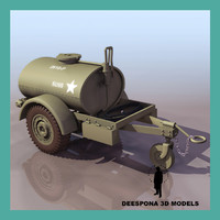 jeep willys trailer water tank 3d model