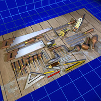 3d model wood working tool set