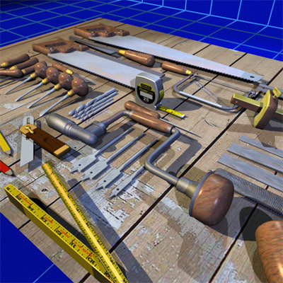 3d Model Wood Working Tool Set