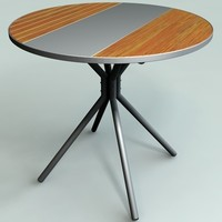 table metal wood combination 3d model