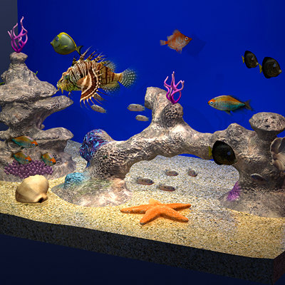 aquarium fish starfish 3ds - Fish Tank / Aquarium... by Pekdemir