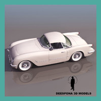 3d 1954 american car chevrolet corvette model