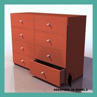 3d chiffonier wood artnoveau cabinet model
