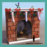 fireplace chimney christmas 3d model
