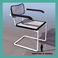 3d office chrome chair 1960 model