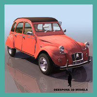 citroen 2cv french popular 3d model
