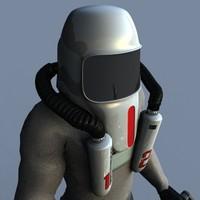 3d biohazard hazmat helmet poser model