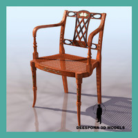 3d model of sheraton elbow chair 1795