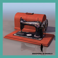 3d model vintage sewing machine singer