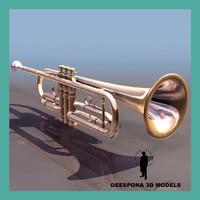 brass trumpet instrument 3d max